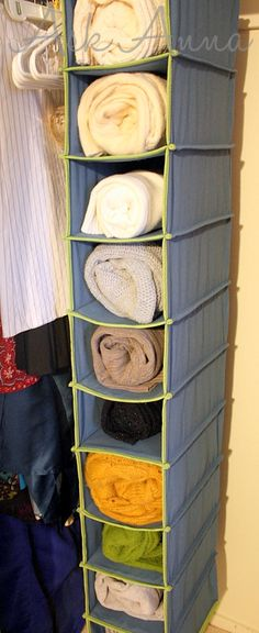 40 Use A Shoe Organizer As Towel Holder