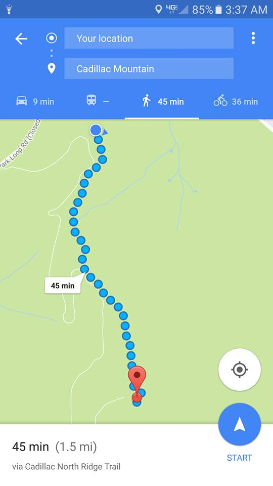 I took a screenshot of the path we walked up and how long it was going to take us to get to the top. This was taken after we had already walked 1/4 of the way, too!