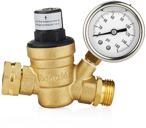 Water Pressure Regulator Valve with Gauge