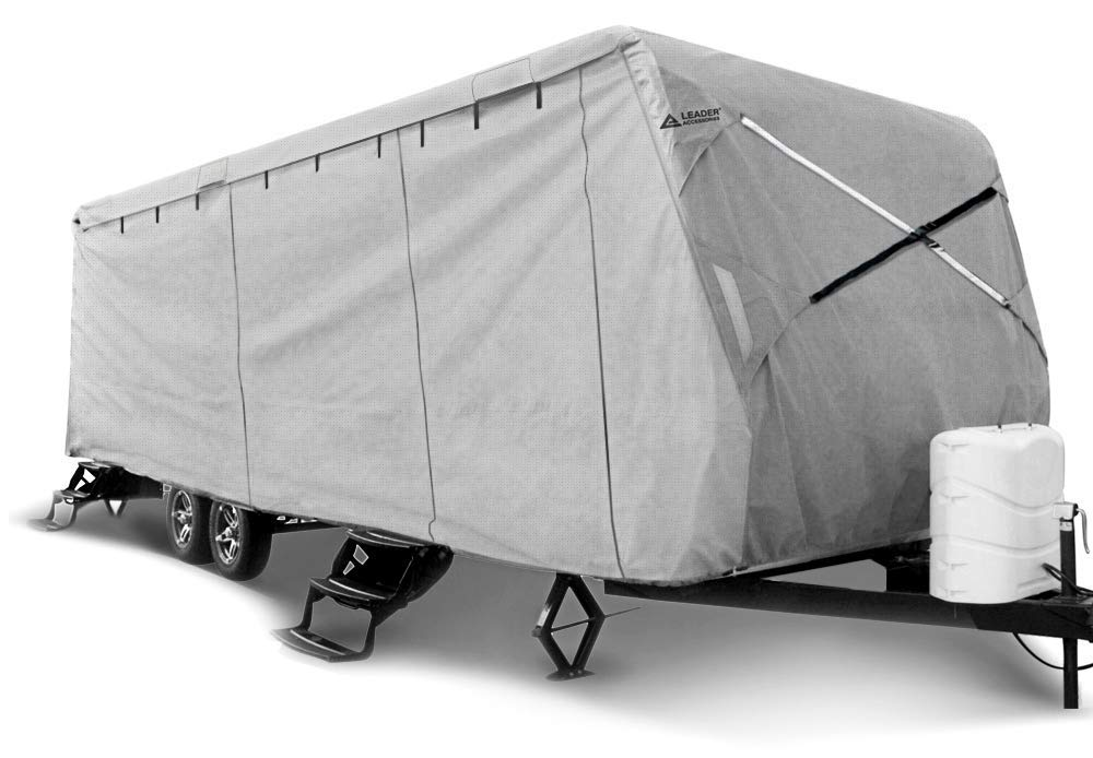OOFIT 4 Layers Top Pop-up Camper Cover 14/' 16/' Rip-Stop Anti-UV Folding Camper Trailer RV Cover with Adhesive Repair Patch