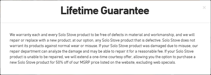Solo Stove Lifetime Guarantee