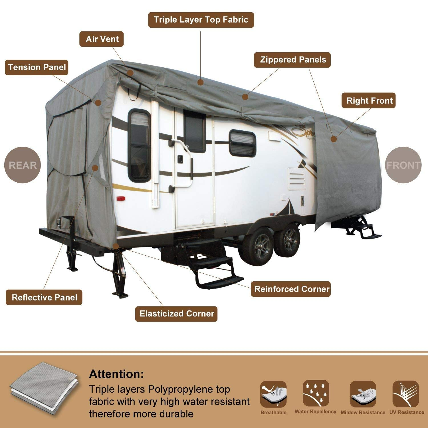 Fits 23-26 Trailer Camper With Adhesive Repair Patch RVMasking Oxford Class C RV Cover More Waterproof Anti-UV Ripstop Camper Cover