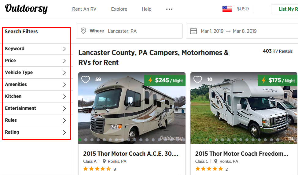 Outdoorsy RV Rental Company