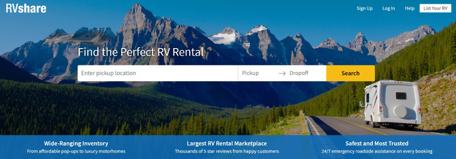 RVShare Home Page