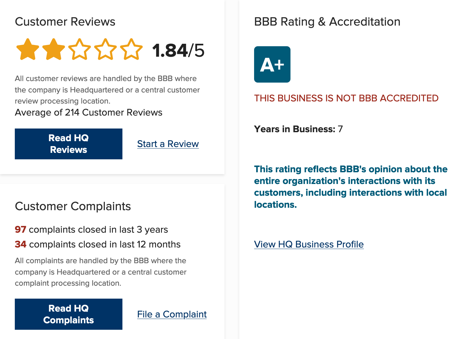 RVshare BBB Rating